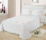 精梳棉全棉纯色被单1.8/2m床床单单件斜纹纯棉绣花双人加大睡单