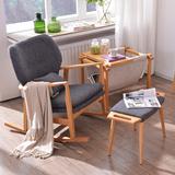 北美进口白橡木 全实木单人沙发摇椅躺椅 简约现代布艺休闲咖啡椅