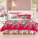 新款韩版全棉床裙式四件套斜纹印花床上用品纯棉四件套单被套床罩