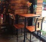 美式乡村铁艺实木歺桌餐椅组合快餐厅咖啡馆休闲桌椅小方桌简约