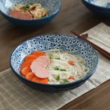 日式和风釉下彩手绘米饭碗 大号螺纹汤碗面碗 沙拉碗 陶瓷碗套装