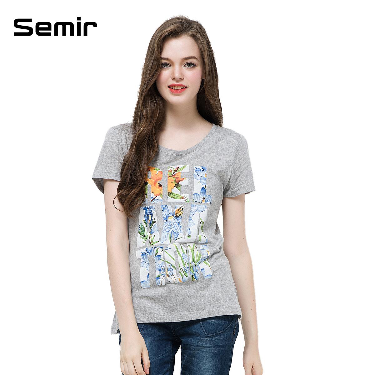 森马2014夏装新款 创意植物字母印花圆领女短袖直筒t恤衫专柜款商品图