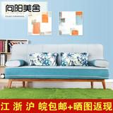 宜家实木沙发床布艺拆洗双人1.4米多功能可折叠小户型沙发床简约