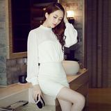时尚韩版针织连衣裙假两件秋冬装女长袖夜店性感修身显瘦包臀裙子