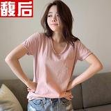 大码纯棉短袖T恤女夏装半截袖体恤韩国宽松简约显瘦百搭半袖打底