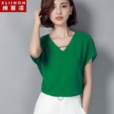 雪纺衫短袖2016新款韩版宽松短款百搭V领蝙蝠袖显瘦雪纺上衣女夏