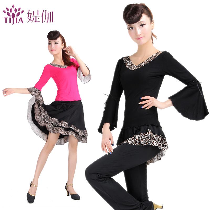 广场舞服装 新款套装夏秋 拉丁舞服跳舞衣服上衣喇叭袖裙裤短裙商品图图片