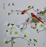 名家国画工笔花鸟画紫丰客厅字画四尺斗方手绘真迹