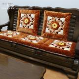 加厚毛绒单双三人沙发垫实木沙发椅垫子红木长椅垫坐垫可拆洗特价