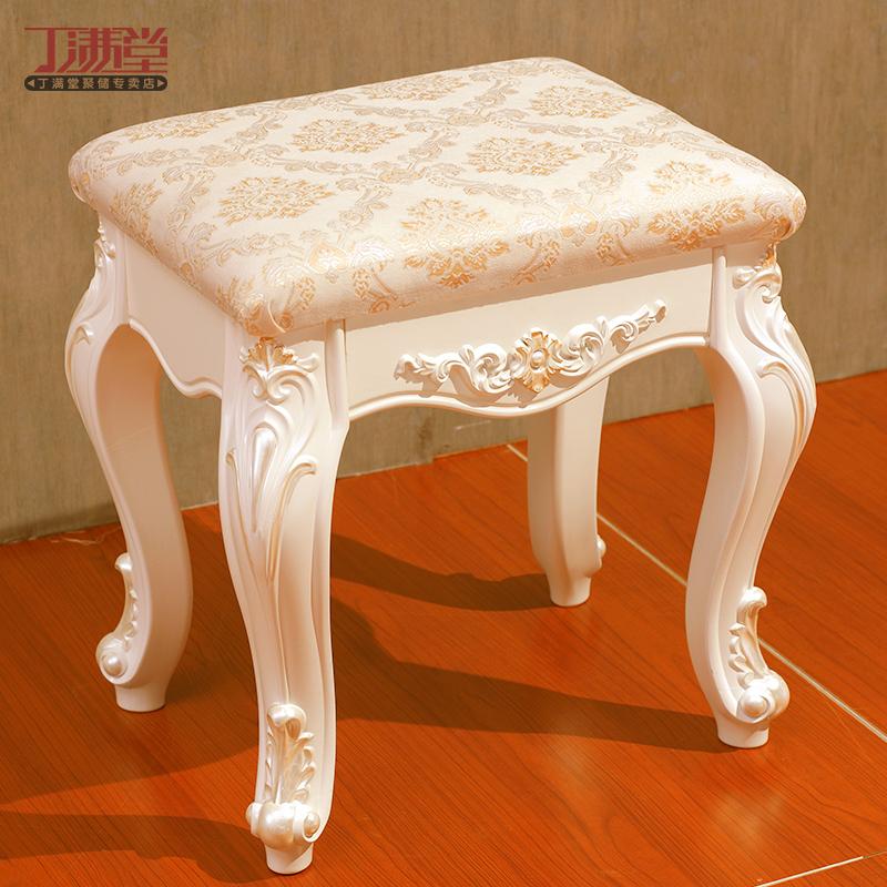 丁满堂 欧式妆凳田园梳妆台凳子实木化妆梳妆凳坐凳象牙白色特价商品图片