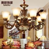 欧式吊灯复古客厅灯餐厅铁艺树脂宫廷灯仿古彩绘灯具新古典卧室灯