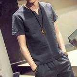 2016夏季新款男装短袖t恤男士青少年修身薄款V领休闲运动套装男潮