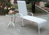 户外休闲沙滩椅子茶几组合 阳台露天躺床 网布特斯林伦铸铝躺椅