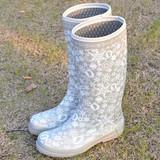 包邮新款时尚轻量高筒长筒橡胶雨鞋秋冬棉雨靴防滑女靴冰雪奇缘