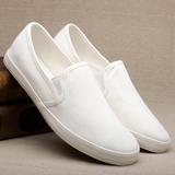 白色布鞋男士帆布鞋 白色休闲鞋男鞋 纯色一脚蹬懒人鞋平底鞋子潮