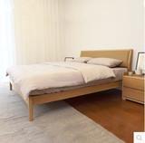家具定制软靠背橡木床实木简约现代真皮床黑胡桃木住宅家具床包邮