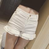 2016夏新品蘑菇街女装韩版百搭双层荷叶边高腰显瘦黑白两色短裤女