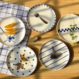 日式创意几何手绘盘子 八寸平盘骨瓷盘 小清新餐盘 厨房餐具套装