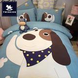 秋冬季全棉加厚儿童卡通磨毛四件套纯棉床上用品1.5米床被套1.2m