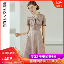 Yan domain women's bow V-neck dress summer 2019 new French retro waist slim plaid dress