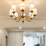 现代美式全铜吊灯客厅乡村欧式铜吊灯简约纯铜灯卧室复古餐厅铜灯