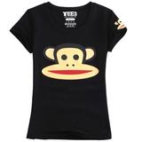 短袖t恤女猴印花新款夏装韩版修身上衣纯棉学生卡通大嘴白色体恤