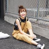 猴子家 原创设计夏季甜美学生背带裤女九分裤 宽松休闲吊带连体裤