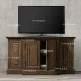 美式实木电视柜 欧式简约复古电机柜地柜 乡村橡木储物柜卧室高柜