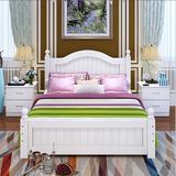 简欧实木双人床1.8米1.5米/单人床1.2米白色松木成人床公主床欧式