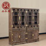 红木家具 鸡翅木书柜组合带门玻璃书橱书架仿古实木雕花明式书柜