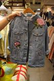 韩国代购2016女装新款小清新花朵刺绣水洗破洞牛仔外套女短款夹克