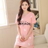 韩版睡裙女夏季纯棉短袖加大码公主宽松睡衣女夏天性感裙子家居服