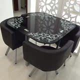 一桌四椅 休闲咖啡台 洽谈餐桌椅组合 钢化玻璃圆台方台简约包邮