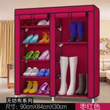 简约经济型大容量门厅鞋靴子收纳鞋架钢管加粗多层双排防尘布鞋柜