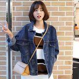 韩国代购2016秋装韩版宽松显瘦BF风牛仔外套女短款长袖牛仔夹克潮