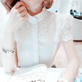 衬衣女学院风 夏季新品短款上衣 韩版显瘦蕾丝短袖立领棉麻打底衫