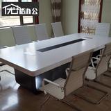 办公家具简约现代创意白色烤漆会议桌长桌洽谈桌谈判桌椅组合新款