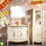 欧式浴室柜实木仿古卫浴柜橡木台盆卫生间落地洗手洗脸洗漱柜组合