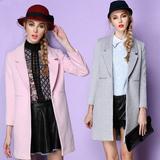 秋冬新款纯色茧型毛呢外套女中长款长袖修身显瘦韩版毛呢大衣加厚