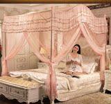 三开门宫廷蚊帐1.5 2米加粗加厚加高不锈钢落地公主拱形通用蚊帐