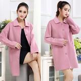 欧韩精品女装新款手工双面羊绒大衣保暖中年妈妈装羊毛呢外套中长