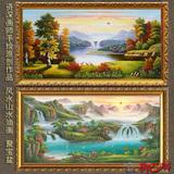 手绘古典欧式客厅山水风景油画办公室有框画装饰风水画 聚宝盆