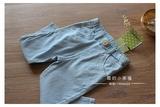 韩国com新款 外贸原单童装 女童浅蓝色 水洗弹力薄款修身八九分裤