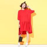 欧美宽松大码纯色立领衬衫裙中长款荷叶边雪纺裙子夏季女装连衣裙