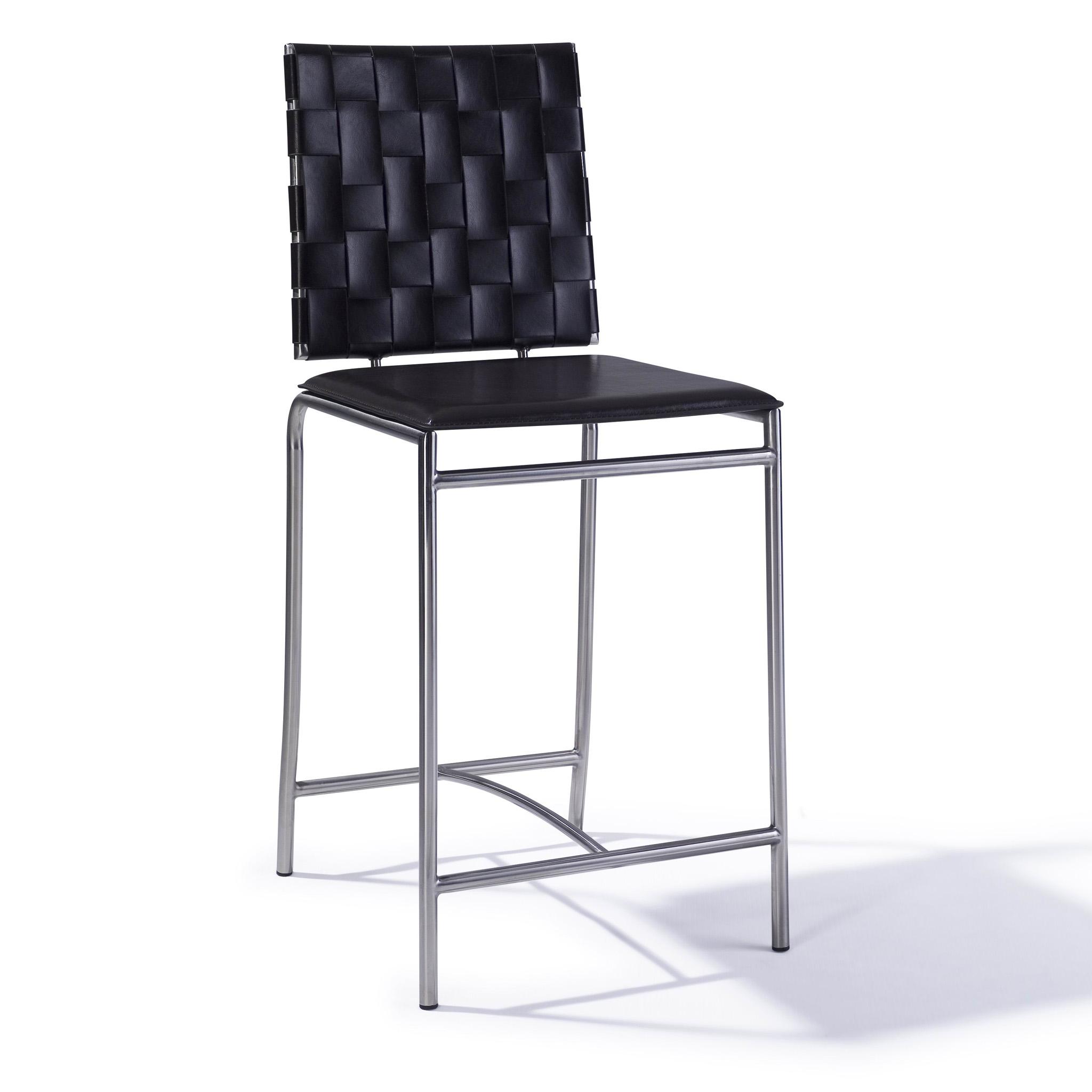 出口美国 简约时尚欧式现代真皮不锈钢酒吧椅 中吧台椅子 高餐椅图片