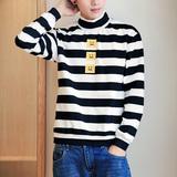 文艺范日系潮男生高领宽松打底衫T恤韩版棉质长袖套头卫衣 小清新