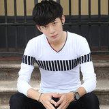 青少年学生时尚潮流条纹长袖T恤男装弹力运动衣服外套官方旗舰店