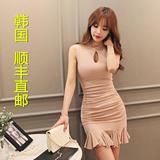 韩国代购正品女装夏季紧身包臀鱼尾短裙子韩版修身无袖连衣裙性感