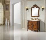 成都货奴0.9米欧式实木橡木仿古复古浴室柜洗脸盆定制厂家直销
