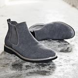 马丁靴男春季真皮男士短靴潮流英伦男靴切尔西靴高帮男鞋